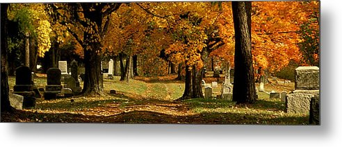 Fall Metal Print featuring the photograph Cemetary Road In Autumn by Roger Soule