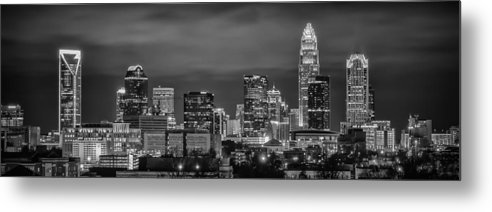Charlotte Metal Print featuring the photograph Charlotte Greyscale by Brian Young