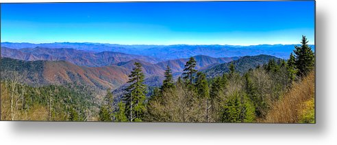 Great Smokey Mountains Metal Print featuring the photograph Clingmans Dome Panorama by Steve Samples
