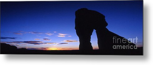 Delicate Arch Metal Print featuring the photograph Delicate Arch At Dusk Panoramic by Sven Brogren