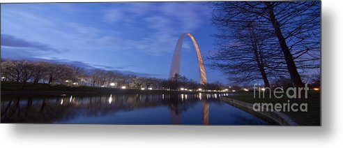 Gateway Arch Metal Print featuring the photograph Gateway Arch At Dawn Panoramic by Sven Brogren