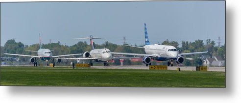 Airbus A319 Metal Print featuring the photograph Lined Up by Guy Whiteley