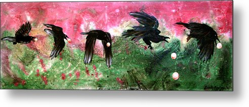 Raven Metal Print featuring the painting Linking Fancy Unto Fancy by Sandy Applegate