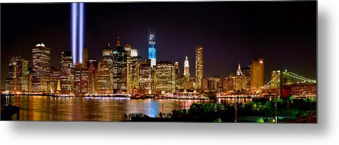New York City Skyline At Night Metal Print featuring the photograph New York City Tribute In Lights And Lower Manhattan At Night Nyc by Jon Holiday