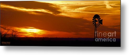 Landscape Metal Print featuring the photograph Oklahoma Sunset by Larry Keahey
