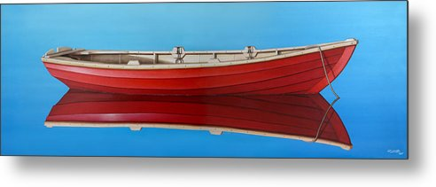 Red Metal Print featuring the painting Red Boat by Horacio Cardozo