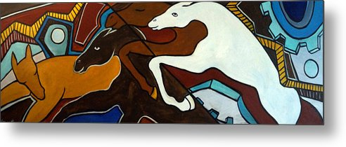 Horse Abstract Metal Print featuring the painting Taffy Horses by Valerie Vescovi