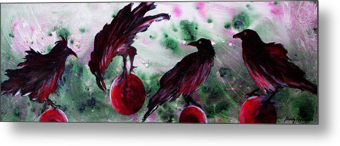 Raven Metal Print featuring the painting The Raven Still Beguiling by Sandy Applegate