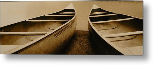 Canoes Metal Print featuring the photograph Two Canoes by Jack Paolini