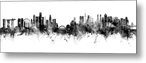 Tokyo Metal Print featuring the digital art Singapore And Tokyo Skyline by Michael Tompsett