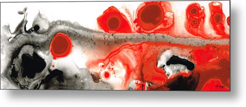 Red Metal Print featuring the painting All Things Considered - Red Black And White Art by Sharon Cummings