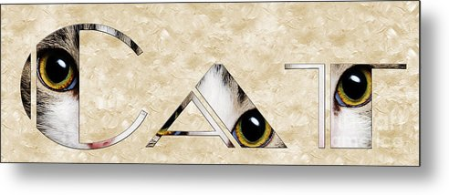 Cat Metal Print featuring the mixed media The Word Is Cat by Andee Design
