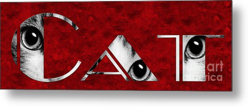 Andee Design Cat Metal Print featuring the photograph The Word Is Cat Bw On Red by Andee Design