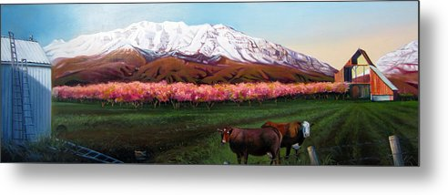 Oil Metal Print featuring the painting Spring Blossoms by Matthew Chatterley