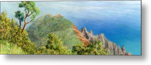 Rainbow Colors Pastel Metal Print featuring the painting Kalalau View by Kenneth Grzesik
