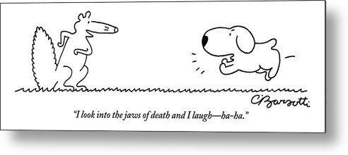 A Barking Dog Runs Towards A Squirrel Who Faces Metal Print
