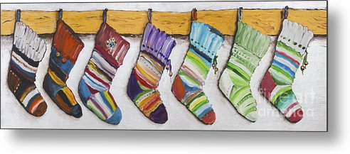 Christmas Metal Print featuring the painting Children's Socks For Christmas Gifts by Irina Gromovaja