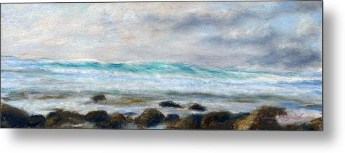 Rainbow Colors Pastel Metal Print featuring the painting Ke' E Wave by Kenneth Grzesik