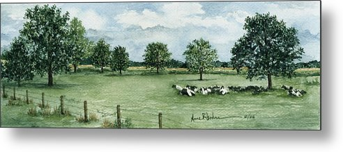 Cows Metal Print featuring the painting Noonday Respite by Anne Rhodes