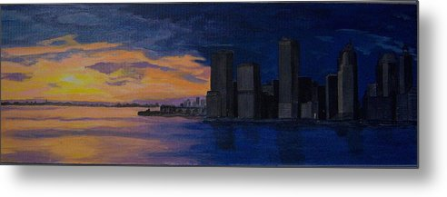 Sunset Metal Print featuring the painting Sunset In New York City by Nancy Nuce
