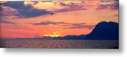 Greece Metal Print featuring the photograph 0016233 - Patras Sunset by Costas Aggelakis