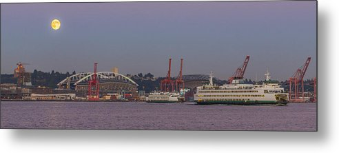 Full Moon Metal Print featuring the photograph Classic Full Moon And Ferries Panorama by Scott Campbell