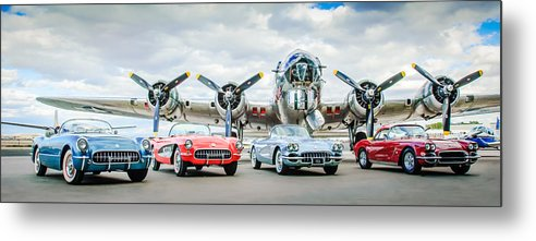 Corvettes With B17 Bomber Metal Print featuring the photograph Corvettes With B17 Bomber by Jill Reger