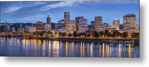 Architecture Metal Print featuring the photograph Portland Skyline Pm2 by Brian Jannsen