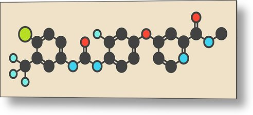 Regorafenib Metal Print featuring the photograph Regorafenib Cancer Drug Molecule by Molekuul
