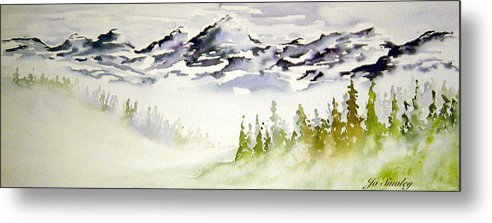 Rock Mountain Range Alberta Canada Metal Print featuring the painting Mist In The Mountains by Joanne Smoley