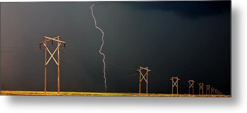 Metal Print featuring the digital art Panoramic Lightning Storm And Power Poles by Mark Duffy