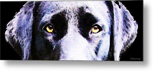 Labrador Retriever Metal Print featuring the painting Black Labrador Retriever Dog Art - Lab Eyes by Sharon Cummings