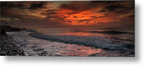 Ocean Metal Print featuring the photograph Glowing Cherry Sunset by Dillen Erb