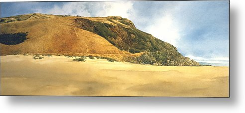 Seascape Metal Print featuring the painting Hiker's Delight by Tom Wooldridge