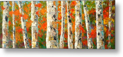 Marilynhurst Metal Print featuring the painting Into The Fall by Marilyn Hurst