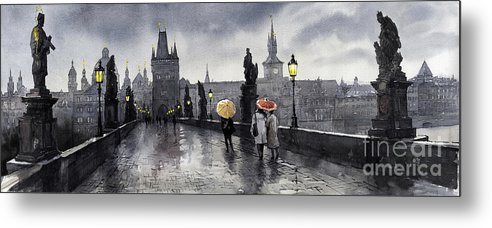 Prague Metal Print featuring the painting Bw Prague Charles Bridge 05 by Yuriy Shevchuk