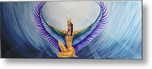 Goddess Isis Wings Metal Print featuring the painting Isis Wings by Alina Andronache