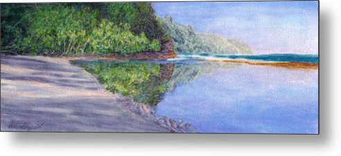 Rainbow Colors Pastel Metal Print featuring the painting Ke' E Beach In May by Kenneth Grzesik