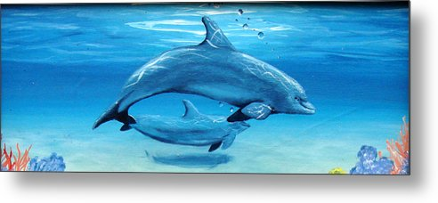 Dolphin Metal Print featuring the painting Momma by Darlene Green