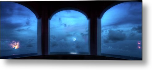 Moon Metal Print featuring the photograph Mystic Moonrise by Mark Andrew Thomas