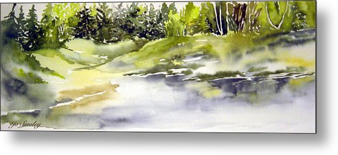 Nutimik Lake Whiteshell Manitoba Metal Print featuring the painting Plein Air At The Pond At Nutimik by Joanne Smoley