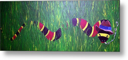 Coral Snake Metal Print featuring the painting Snake In The Grass by Sharon Supplee