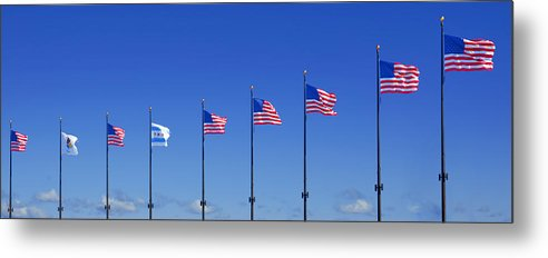 American Metal Print featuring the photograph American Flags On Chicago's Famous Navy Pier by Christine Till