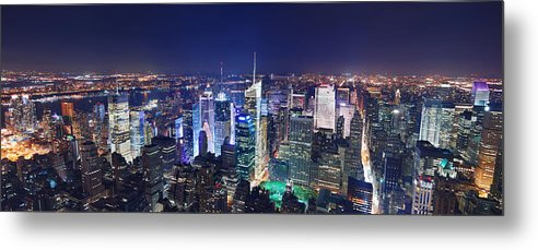 Times Square Metal Print featuring the photograph New York City Manhattan Night Panorama by Songquan Deng