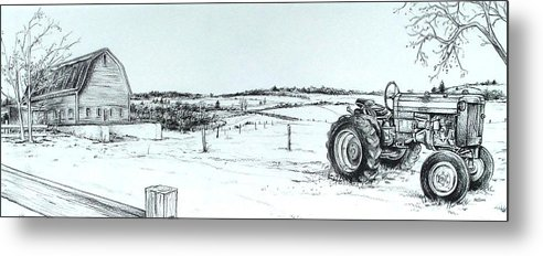 Tractor Metal Print featuring the drawing Parked Tractor by Scott Nelson