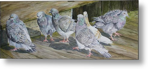 Pigeons Metal Print featuring the painting Gossiping by Helen Shideler