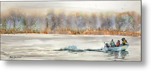 Boat Metal Print featuring the painting Hold On To Your Hat by Shirley Sykes Bracken