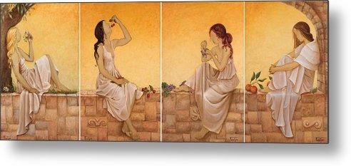 Season Metal Print featuring the painting 4 Seasons II by Barbara Gerodimou