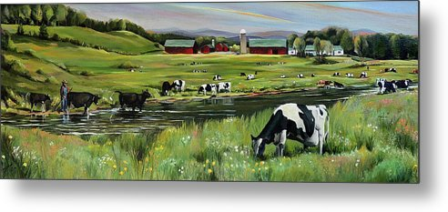 Landscape Metal Print featuring the painting Dairy Farm Dream by Nancy Griswold