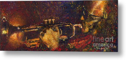 Jazz Metal Print featuring the painting Jazz Miles Davis by Yuriy Shevchuk